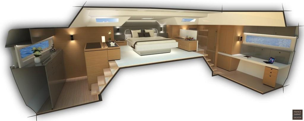 Il particolare disegno dell'armatoriale del Provilège Serie 5, con il letto a centro barca.