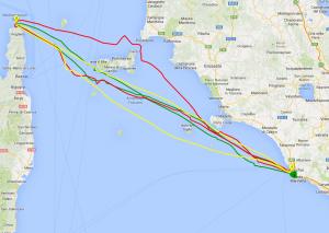 In giallo il percorso di Phantomas, in rosso il percorso del Pogo 40 Patricia II di Mario Girelli e in verde quello di Matteo Miceli a bordo di Eco 40