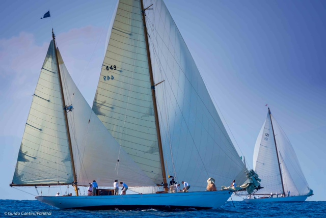 """La Sfida"" regatta between sister ships Eilean and Latifa. Ph: Guido Cantini/Panerai/Sea&See.com"
