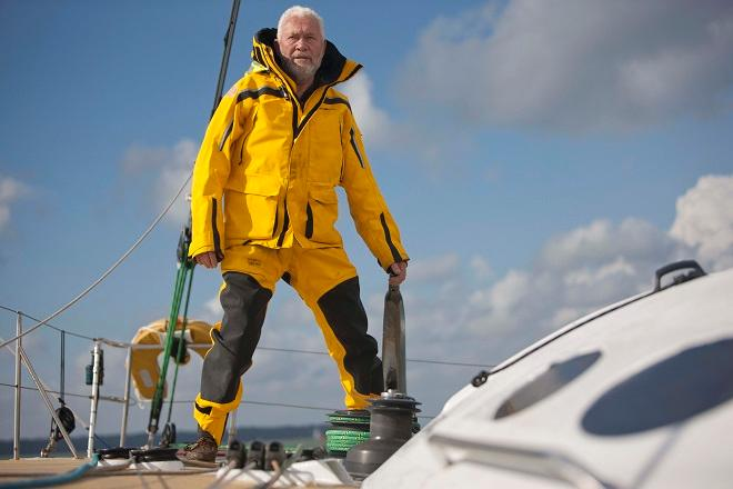 Sir Robin Knox-Johnston onboard his Open 60 yacht, Grey Power ahead of the start of the Route du Rhum.