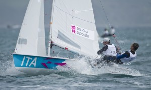 Gabrio Zandona and Pietro Zucchetti (ITA) competing today, 02.08.12, in the Men's Two Person Dinghy (470) event in The London 2012 Olympic Sailing Competition.