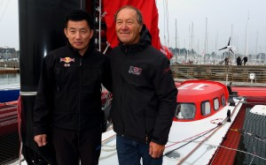 Guo Chuan (a sinistra) e Francis Joyon a bordo di Idec 2