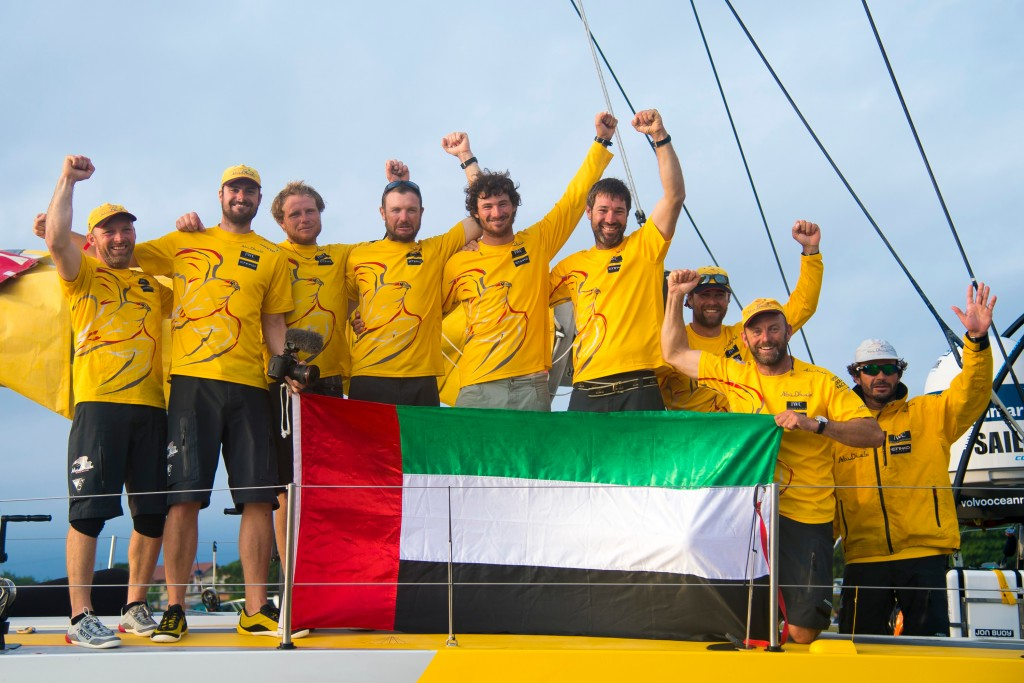 April 05, 2015. Abu Dhabi Ocean Racing, winner of Leg 5 arriving to Itajaí.