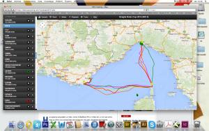Il tracking della regata: in verde la rotta percorsa da Azuree, molto più a levante rispetto alla flotta