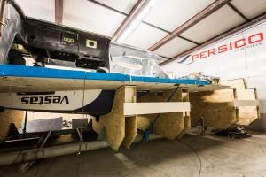 February 12, 2015. The rebuild; Team Vestas Wind at Persico Marine, Bergamo. Italy.