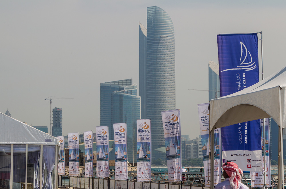 Press conference. 26.10.2015 2015 ISAF Sailing World Cup Final, Abu Dhabi, United Arab Emirate. Eight Olympic sailing events are being contested along with open kiteboarding from 29th October to November 1st, 2015. Prize money will be awarded to the top three overall finishers in each of the events for a total prize purse of US$220,000. The Abu Dhabi Sailing and Yacht Club is the host of the ISAF Sailing World Cup Final, located on the main island of the city with immediate access to the beautiful waters of the Arabian Gulf. Race areas are placed around Lulu Island off the UAE capitalís stunning Corniche. Credit Jesus Renedo/Sailing Energy/ Isaf