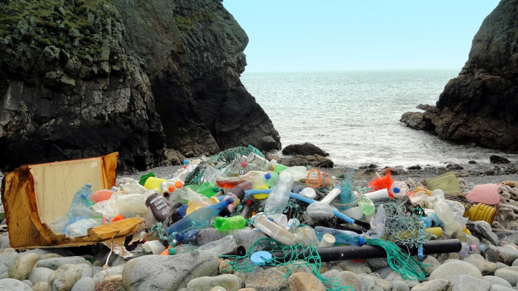 3581.Rubbish on Ramsey beach 29042013