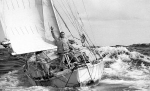 Robin Knox-Jonhston all'arrivo del Golden Globe 1968 su Suhaili