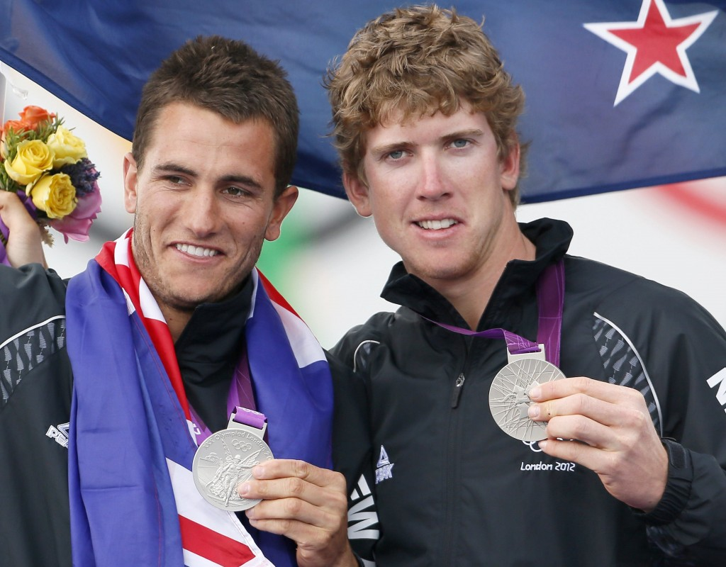 New Zealand's Peter Burling and Blair Tuke pose with their silver medals at the London 2012 Olympic Games