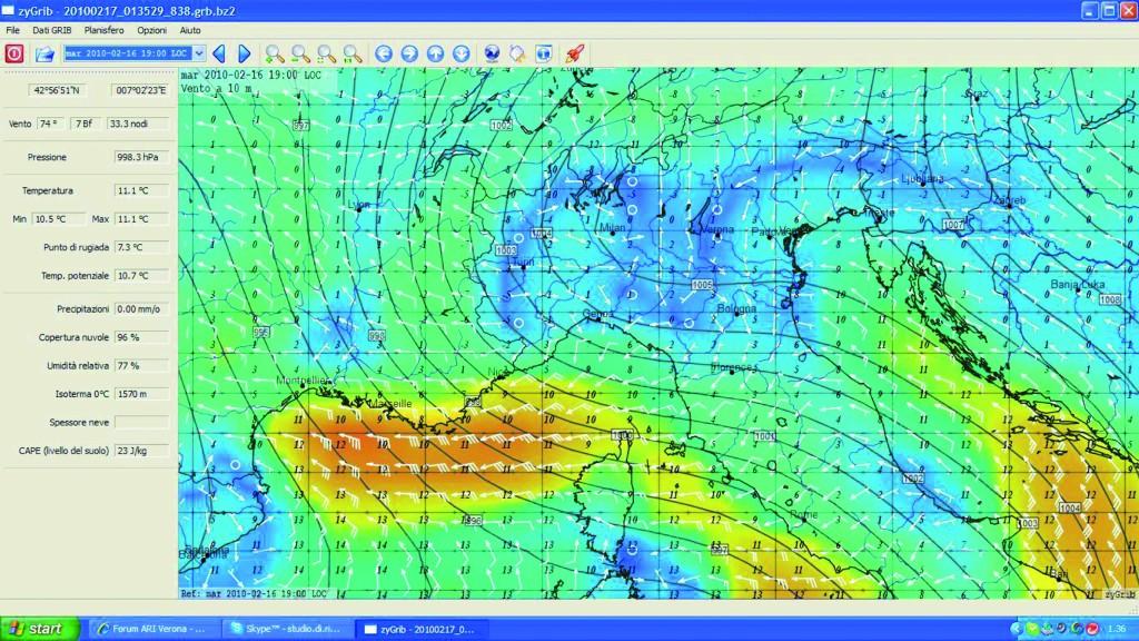 Un grib file (tratto da zygrib.org), ovvero la rappresentazione vettoriale del vento attuale e atteso.
