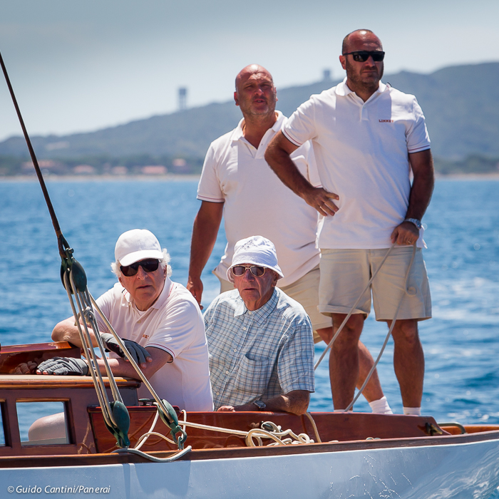 Porto Santo Stefano, Italy  - 18 June 2016 -  Panerai Classic Yachts Challenge 2016 -   Argentario sailing Week 2016 -  Patrizio Bertelli head of Luna Rossa on his vintage boat  Linnet with Max Sirena, skipper of Luna Rossa and crew. Ph: Guido Cantini / Panerai / SeaSee.com