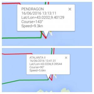 Il confronto tra Pendragone Atalanta sul passaggio della Giraglia: il tracking segnala un vantaggio di circa 28 minuti da parte di Pendragon