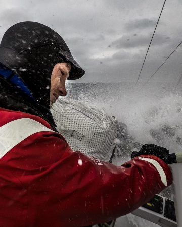 Leg 3, Cape Town to Melbourne, day 15, Luke Parkinson in his element in these conditions on board Sun Hung Kai/Scallywag. Photo by Konrad Frost/Volvo Ocean Race. 24 December, 2017.
