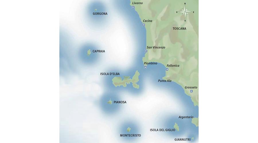 Mappa Arcipelago Toscano