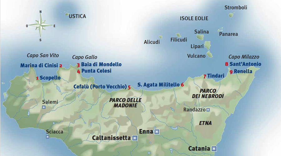 Cartina Sicilia Mondello.Vacanze In Barca Baie E Approdi Da Palermo A Milazzo